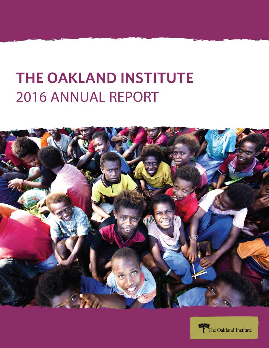 Oakland Institute 2016 Annual Report Cover