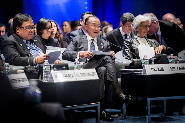 April 16, 2016 - WASHINGTON DC., 2016 World Bank / IMF Spring Meetings. Development Committee. United Nations Secretary-General Ban Ki-moon; World Bank Vice President and Corporate Secretary Yvonne Tsikata; Minster of Finance of Indonesia and Chairman of the Development Committee Bambang Brodjonegoro; World Bank Group President Jim Yong Kim; Managing Director of the International Monetary Fund Christine Lagarde. Photo: Grant Ellis / Word Bank (CC BY-NC-ND 2.0)