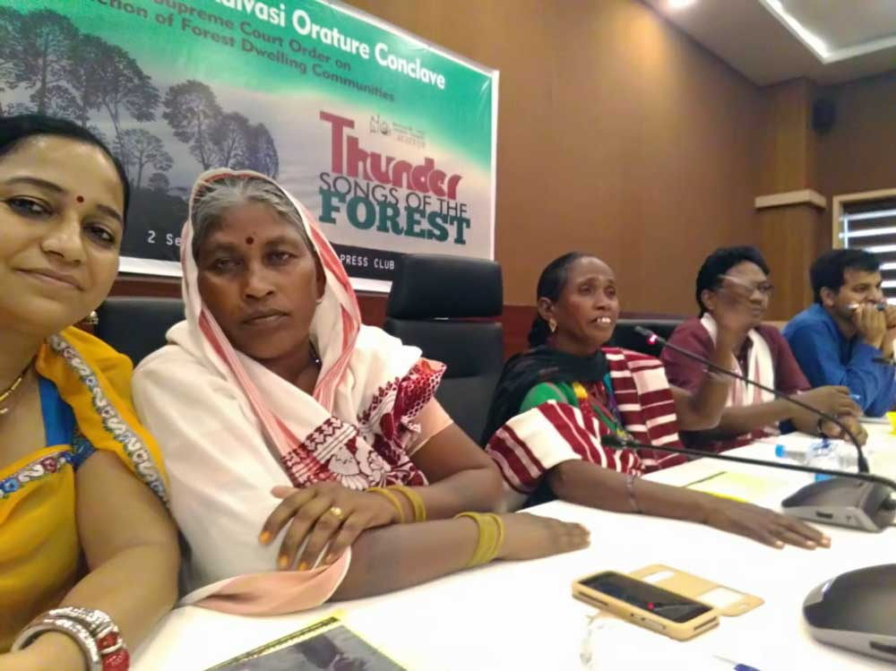 Indigenous leaders from the AIUFWP at an Adivasi Orature conclave at the Press Club of India. The testimonies of traditional forest dwelling communities endangered by the Supreme Court eviction order were given center stage. Credit: AIUFWP