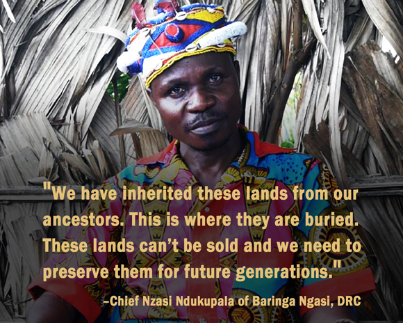 Chief Nzasi Nkukupala, Baringa Ngasi. Baringa Ngasi is one of at least nine villages, with over 5,000 people, that lost their land to the Bukanga Lonzo Agro-industrial Park in DRC. Credit: Oakland Institute