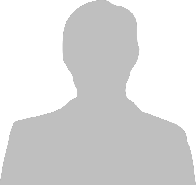 Headshot placeholder, grey silhouette