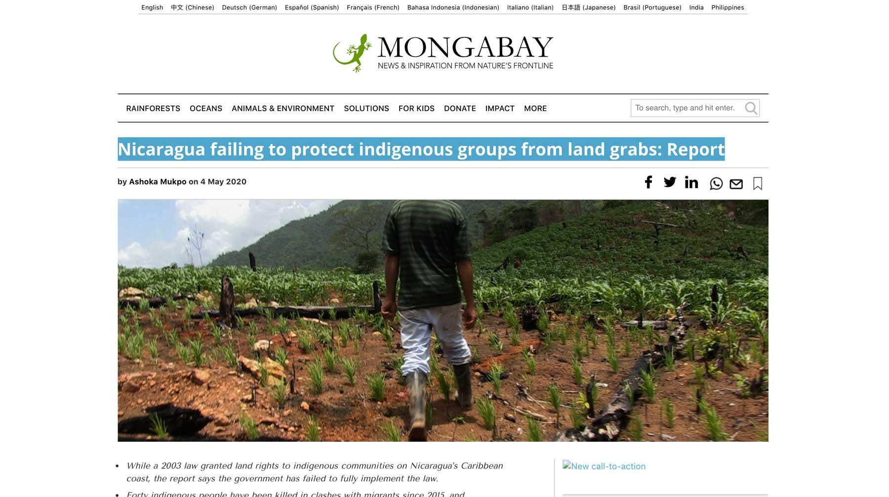 Mongabay Nicaragua article screenshot