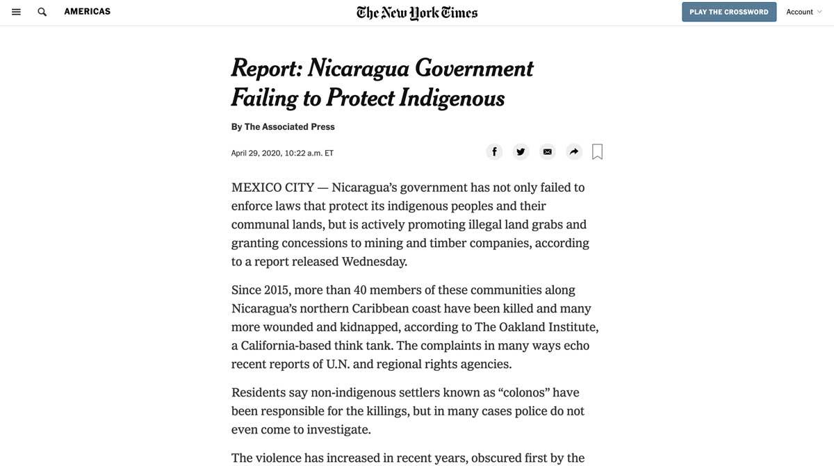 New York Times Nicaragua article screenshot