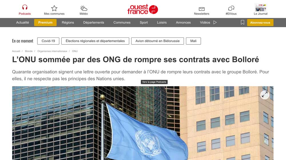 Screenshot of Ouest France article on Bolloré Group and UN contracts