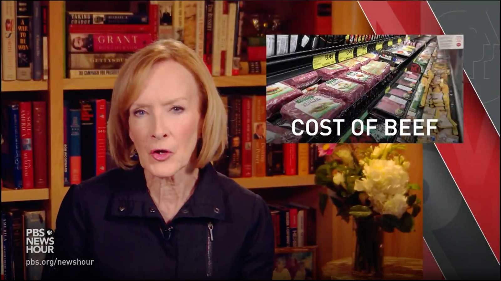 Screenshot of PBS NewsHour intro for Cost of Beef