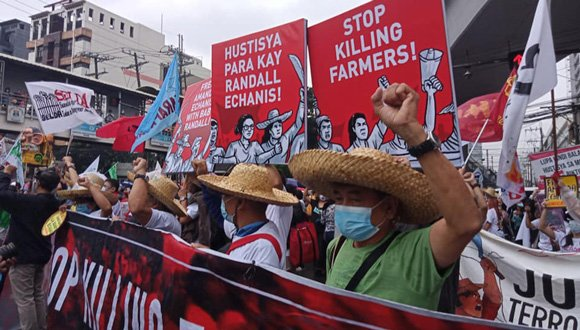 Farmers lead protest against extrajudicial killings in the Philippines, January, 9th 2021.