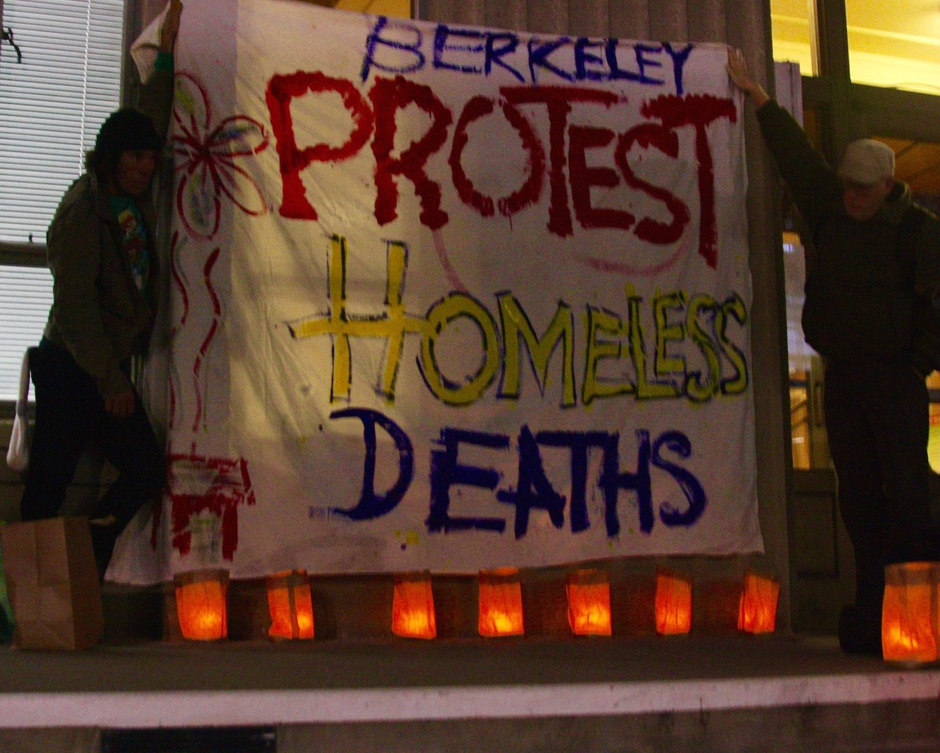 "Advocates for the homeless held a vigil on the steps of Berkeley's City Council for Laura Jadwin, a horticulturist who died homeless on Martin Luther King, Jr. Way, near Berkeley High School. ""There's a terror of dying poor, and a terror of dying alone. We are here to say her life mattered,"" said one woman at the vigil."