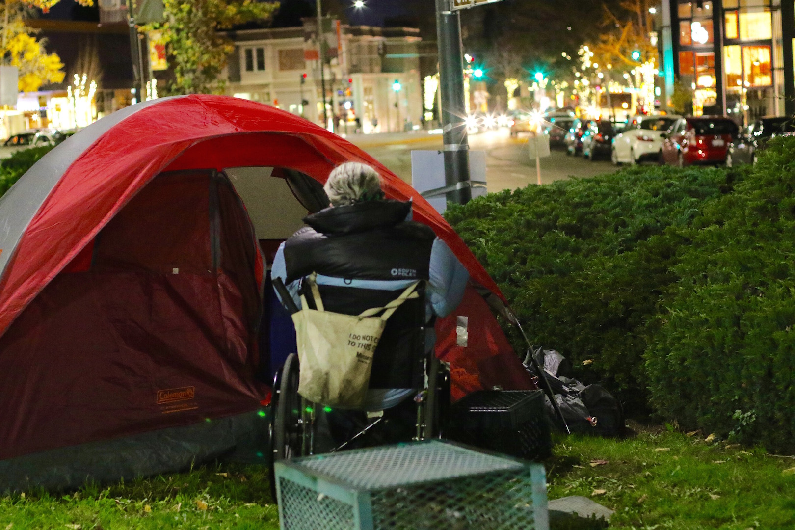 "Most members of the First They Came for the Homeless encampment protest in Berkeley are disabled.  ""The moment people see me with my sleeping bag on the streets, I become a non-person in their eyes,"" said Brett Schnaper, a member of the encampment. ""It's such a delight to be seen."""