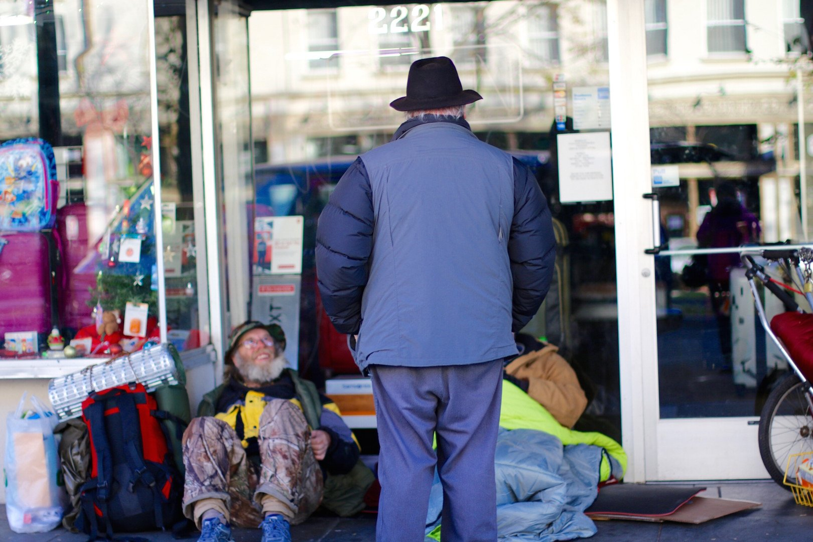 "J.C. Orten makes his morning run serving the homeless in downtown Berkeley. He picks up their mail, gives medicines, and manages their money as their representative payee. ""The greatest gift you can give is a gift of self,"" he said."