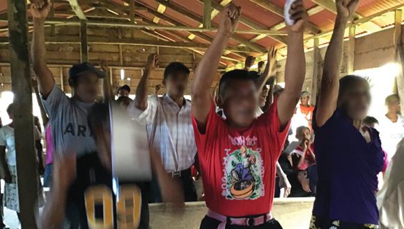Miskitu villagers united in their demand for Saneamiento