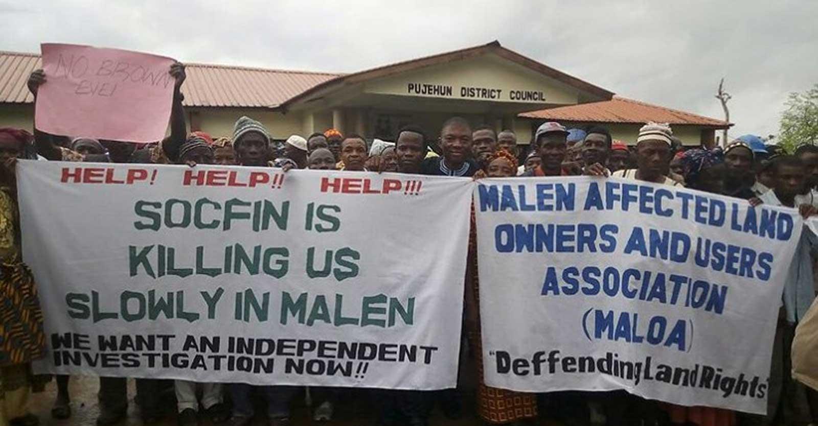 Protest against SOCFIN in Pujehun District, Malen Chiefdom, Sierra Leone.