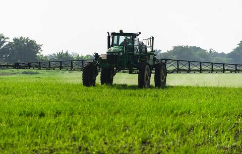 Crop spraying on the Agrica rice plantation. Credit: Greenpeace