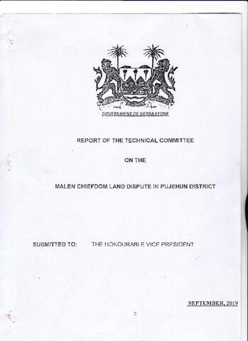 Report of the Technical Committee on the Malen Chiefdom Land Dispute in Pujehun District