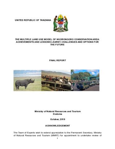 The Multiple Land Use Model of Ngorongoro Conservation Area: Final Report Oct 2019