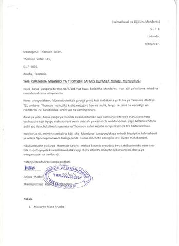 Letter from Joshua Makko, Chief, Mandorosi Village (274.64 KB)