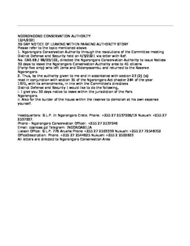 Translated Ngorongoro Eviction Notices April 17 2021