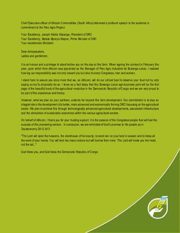 CEO Africom Commodities speech green flyer