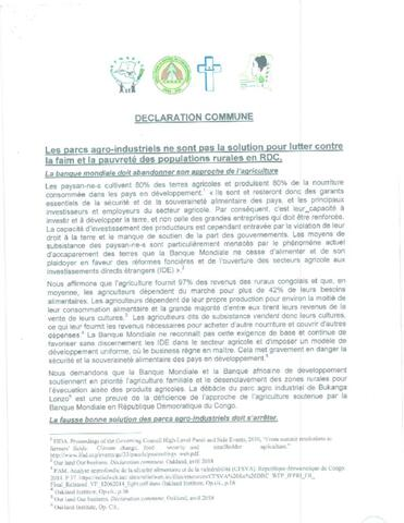 Civil Society's Joint Statement on Agro-Industrial Parks cover