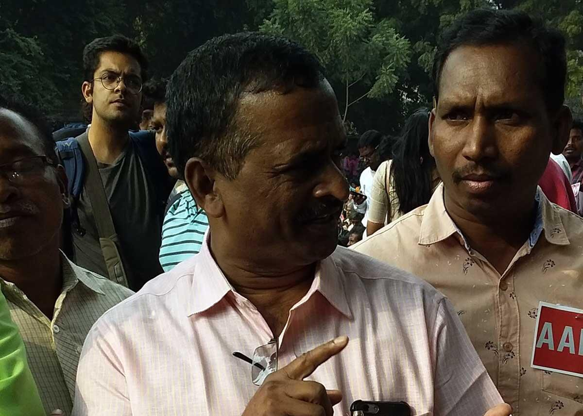 R Narasimhan, a government officer working in the Steel Ministry, accompanied the Andhra Pradesh Girijana Sangam to the protest. Credit: The Oakland Institute