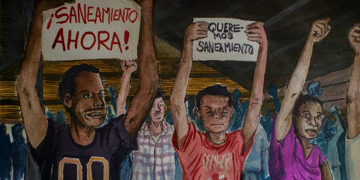 Villagers united in their demand for Saneamiento. Illustration: Abner Hauge