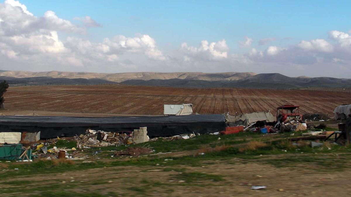 Rubble from the demolition of Umm al-Hiran overlooking the prepared fields. Credit: The Oakland Institute