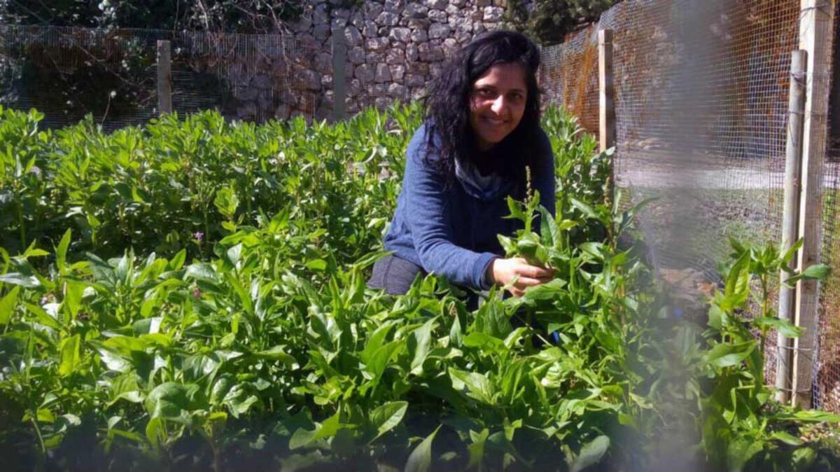 Palestinian agriculturalist, Vivien Sansour, in her garden. Credit: Ayed Arafah