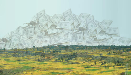 Image: Highland scene in Amhara, Ethiopia with US dollars overlaid. © The Oakland Institute