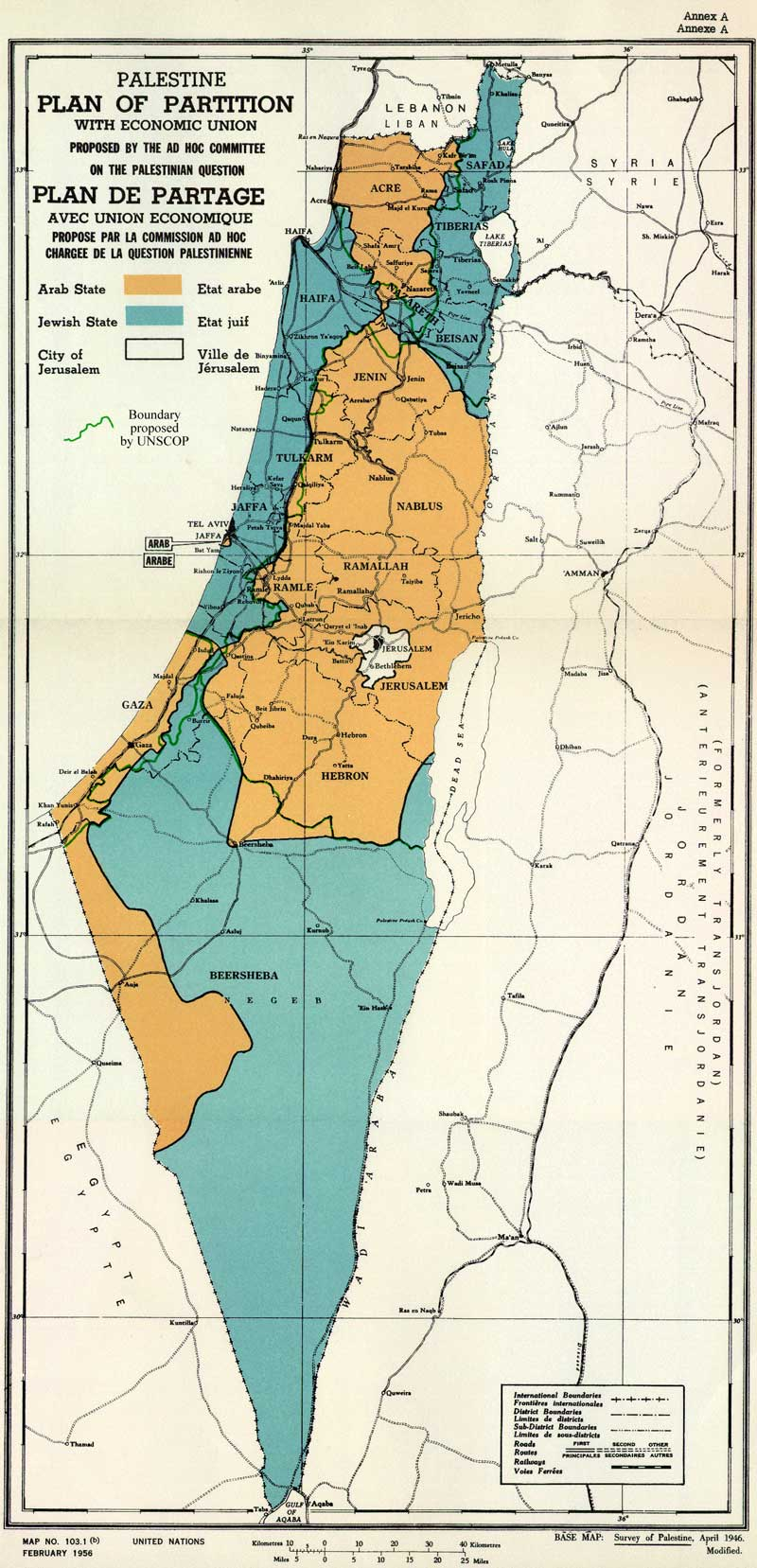 UN Partition Plan for Palestine, November 1947. Credit: UN General Assembly 181 (II)