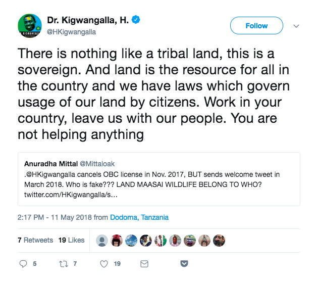 May 11, 2018 tweet by Tanzania's Minister of Natural Resources and Tourism, Hamisi Kigwangalla.