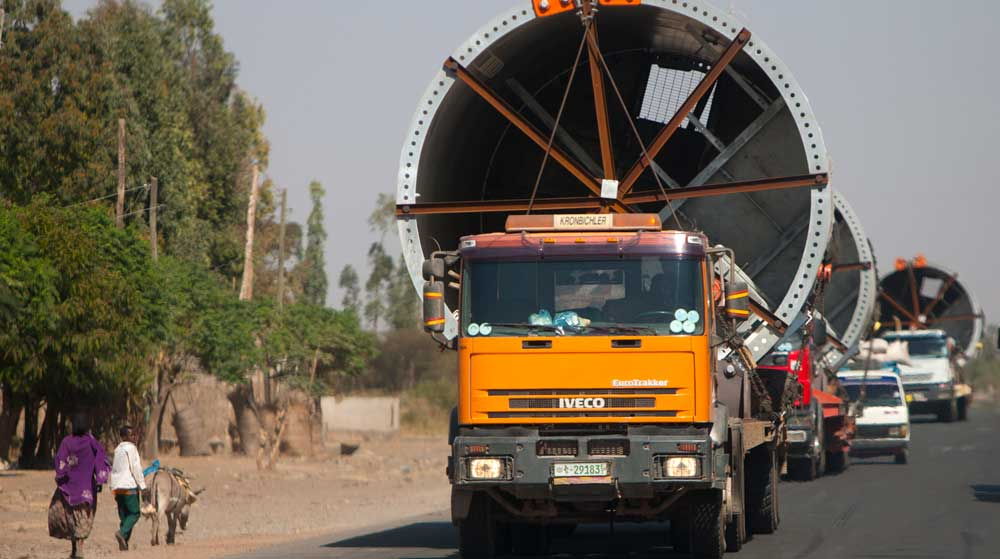 Trucks transporting industrial turbines for development projects in Ethiopia © The Oakland Institute