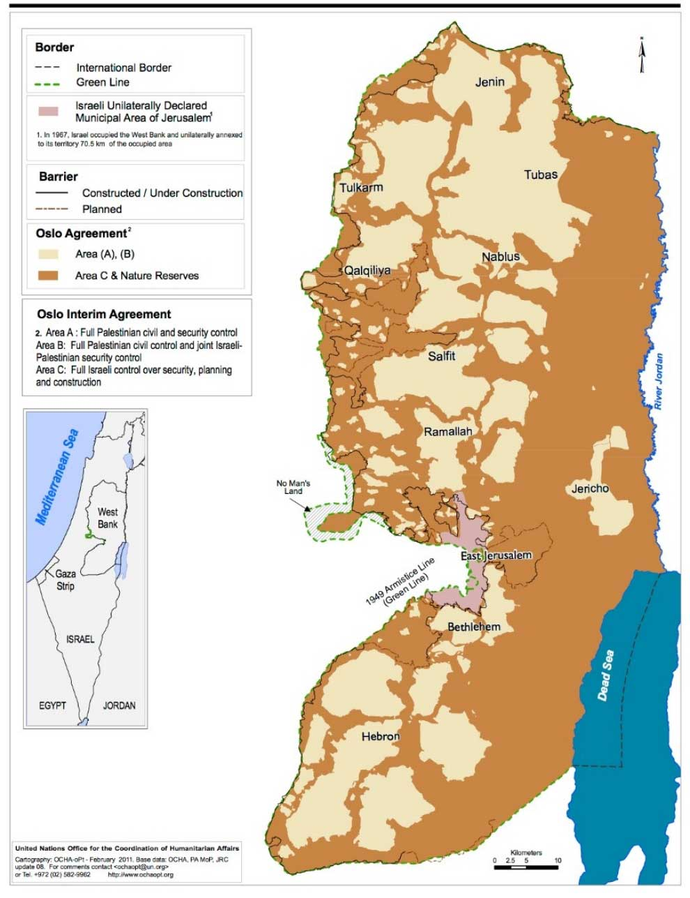 Areas A, B, & C in the West Bank. Credit: UN OCHA, February 2011